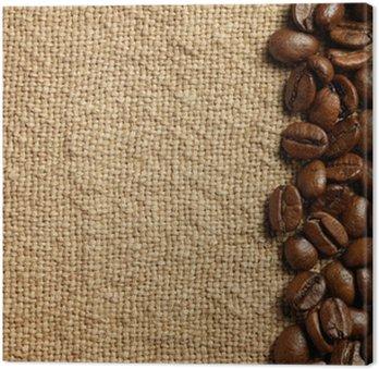 Obraz na Płótnie Ziaren kawy na konopie tekstury