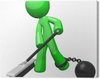 Obraz na Płótnie Zielona Więzień Ball and Chain zamiatania