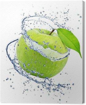 Obraz na Płótnie Zielone jabłko z odrobiną wody, na białym tle