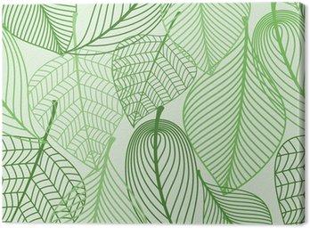 Obraz na Płótnie Zielone liście bezszwowe tło wzór