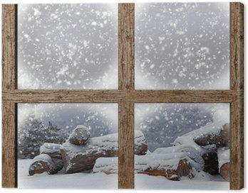 Obraz na Płótnie Zima Widok z zewnątrz drewno stos z drewnianym oknie