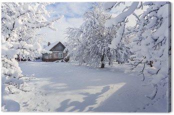 Obraz na Płótnie Zimowy bajkowy, obfite opady śniegu pokryte drzewa i domy w