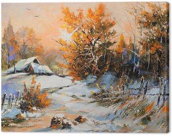 Obraz na Płótnie Zimowy krajobraz obszarów wiejskich
