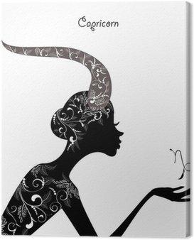 Obraz na Płótnie Znak zodiaku koziorożec znak. dziewczyna mody
