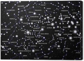 Obraz na Płótnie Znani gwiazdozbiory i gwiazdy na nocnym niebie