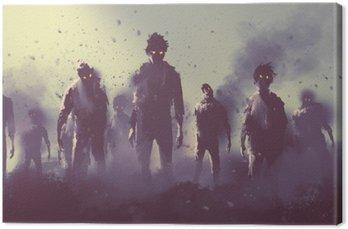 Obraz na Płótnie Zombie tłum chodzenie w nocy, koncepcji halloween, ilustracja malarstwo