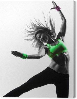 Obraz na Płótnie Zumba kobieta wykonywania ćwiczeń sylwetka taniec