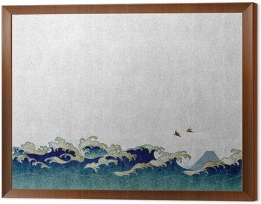 Obraz v Rámu 和風 背景 素材 大 波 と 渡 り 鳥
