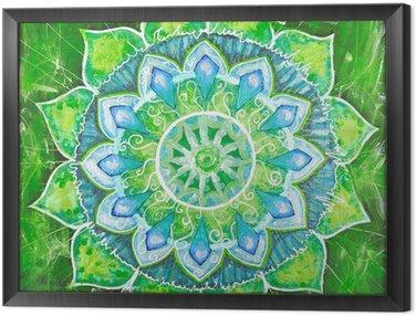 Obraz v Rámu Abstract green namalovaný obraz s kruhem vzorem, mandala