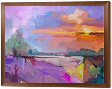 Obraz v Rámu Abstraktní olejomalba krajiny pozadí. Umělecká díla moderní olejomalba venkovní terén. Semi abstraktní strom, kopec se před slunečním zářením (slunce), barvitý žlutá - fialová oblohy. Krása přírody pozadí
