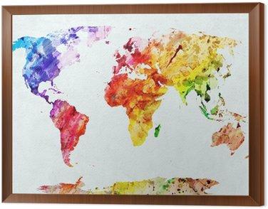 Obraz v Rámu Akvarel mapa světa