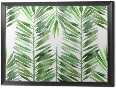 Obraz v Rámu Akvarel palma list bezešvé