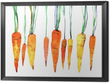 Obraz v Rámu Akvarel ručně malovaná mrkev