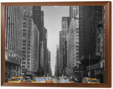 Obraz v Rámu Avenue s taxíky v New Yorku.