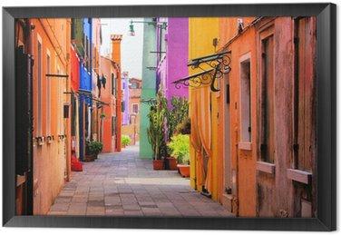 Obraz v Rámu Barevné ulice Burano, nedaleko Benátek, Itálie