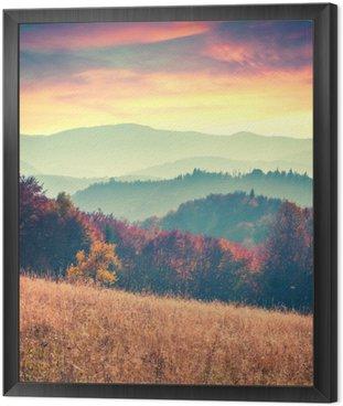 Obraz v Rámu Barevný podzim východ slunce v Karpatech.