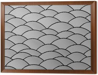 Obraz v Rámu Bezešvé abstraktní ručně tažené vzor, vlny pozadí