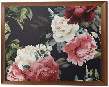 Obraz v Rámu Bezešvé květinovým vzorem s růží, akvarel. vektor illustrat