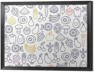 Obraz v Rámu Bezešvé vzor s ovocem a zeleninou ikon