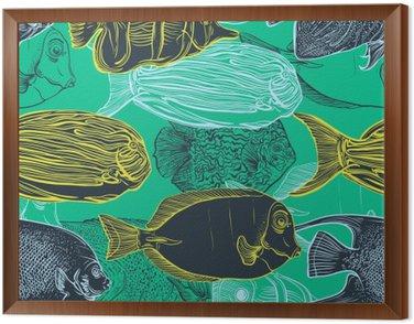Obraz v Rámu Bezešvé vzor se sbírkou tropických fish.Vintage soubor ručně tažené mořských fauna.Vector ilustrace v PÉROVKY style.Design na pláži v létě, dekorací.