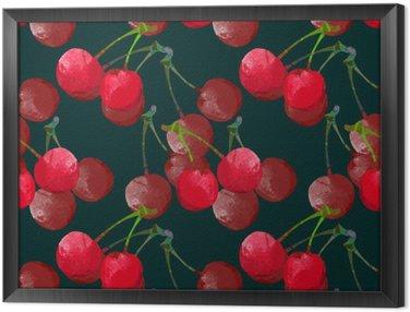 Obraz v Rámu Bezproblémové vzorek s akvarelem třešeň