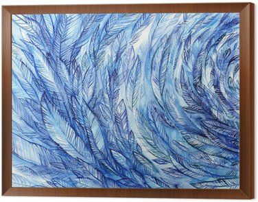 Obraz v Rámu blue feathers in a circle, watercolor abstract background