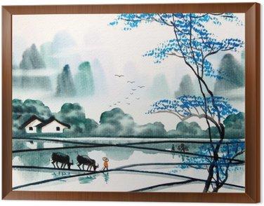 Obraz v Rámu Čínské krajiny akvarel painting__