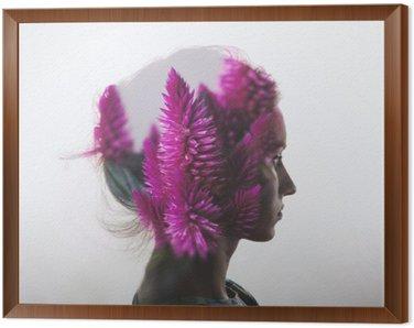 Obraz v Rámu Creative dvojitá expozice s portrétem mladé dívky a květiny