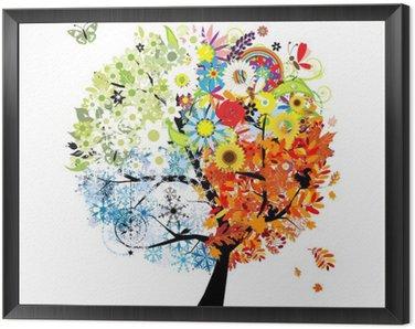 Obraz v Rámu Čtyři roční období - jaro, léto, podzim, zima. Umění strom