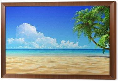 Obraz v Rámu Dlaně na prázdné idylické tropické písečné pláže.