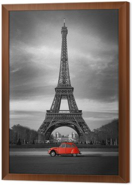 Obraz v Rámu Eiffelova věž, Paříž červené auto-