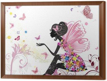 Obraz v Rámu Flower Fairy v prostředí motýlů