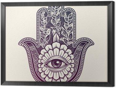 Obraz v Rámu Hamsa. ruka Fatimy, symbol štěstí