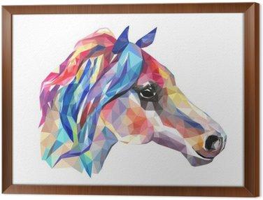 Obraz v Rámu Hlava koně, mozaika. Trendy ve stylu geometrické na bílém pozadí.
