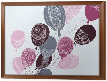 Obraz v Rámu Ilustrace s barevnými balónky létání