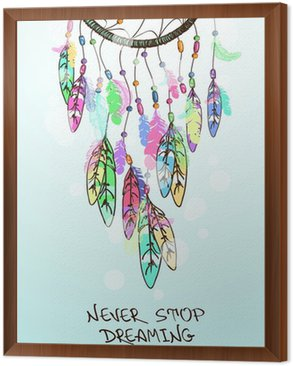 Obraz v Rámu Ilustrace s indiány Dreamcatcher