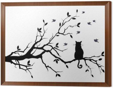 Obraz v Rámu Kočka na stromě s ptáky, vektoru