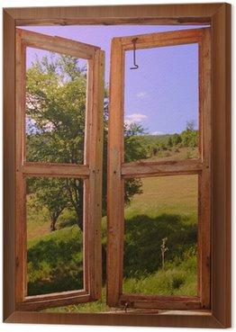 Obraz v Rámu Krajina vidět přes okno