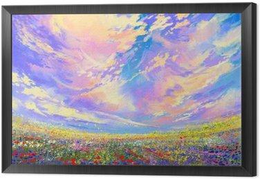 Obraz v Rámu Krajinomalba, barevné květiny v poli pod krásnými mraky