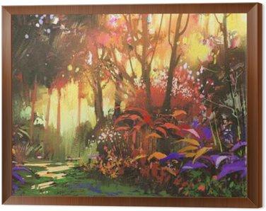 Obraz v Rámu Krajinomalba z krásného lesa s slunečního světla, ilustrační