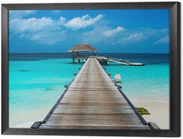 Obraz v Rámu Krásná pláž s vodními bungalovy