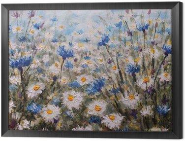 Obraz v Rámu Květiny. Glade z chrpy a sedmikrásky. Letní květiny.