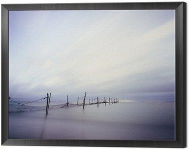 Obraz v Rámu Langzeitbelichtung am Strand mit Fischer repasovat