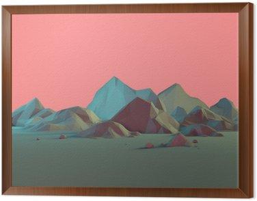 Obraz v Rámu Low-Poly 3D Horská krajina s Pastels