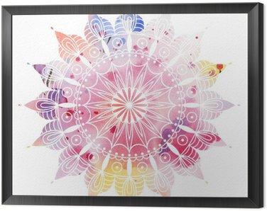 Obraz v Rámu Mandala barevný akvarel. Krásný kulatý vzor. Detailní abstraktní vzor. Dekorativní izolovaný.