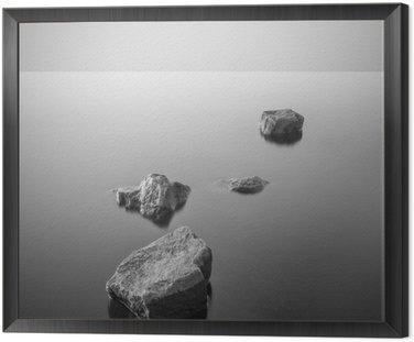 Obraz v Rámu Minimalistické misty krajiny. Černý a bílý.