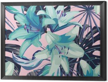 Obraz v Rámu Modré lilie a listy bezproblémové pozadí