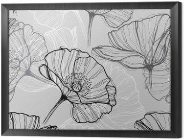 Obraz v Rámu Monochromatický bezproblémové vzorek s máky. Ručně tažené květinové pozadí