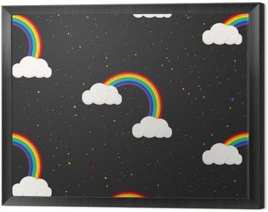 Obraz v Rámu Noční obloha fantazie kluk bezešvé vzor. Hvězda konfety, mraky a duha chlapec šedá tapeta a design tkaniny.