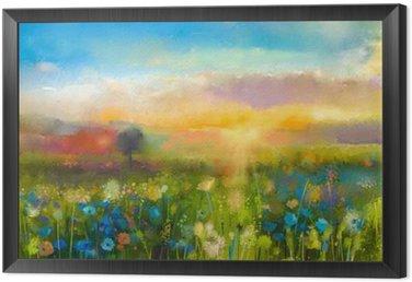 Obraz v Rámu Olejomalba květiny pampeliška, chrpa, sedmikráska na polích. Západ slunce louka krajiny s wildflower, kopce a obloha v oranžové a modré barvy pozadí. Hand Paint léto květinový Impressionist styl